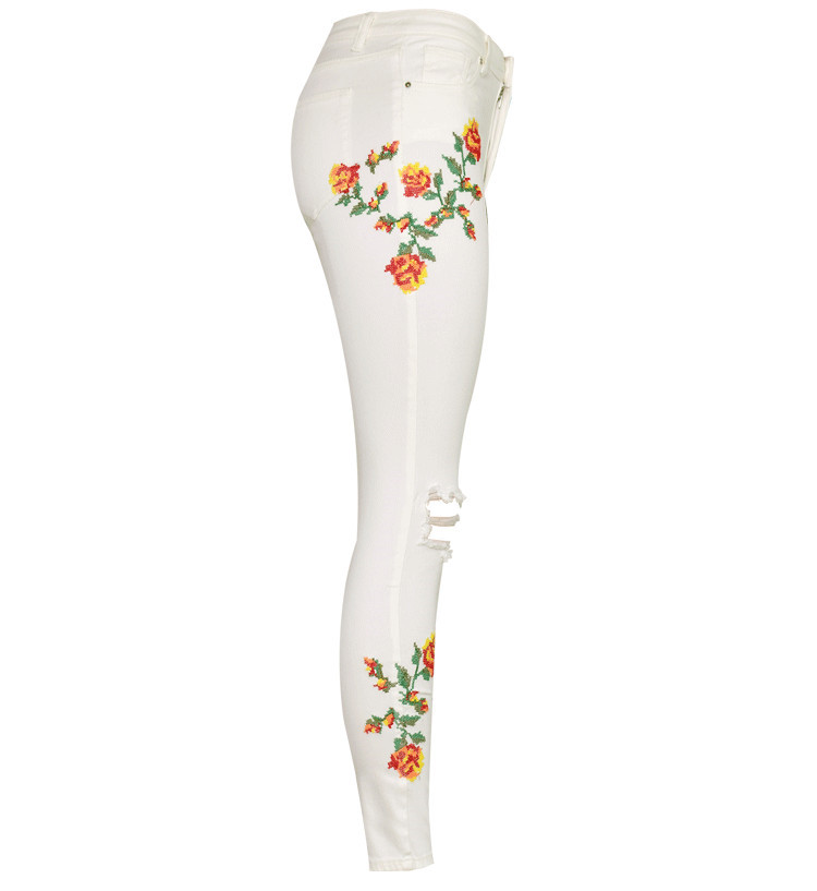 Women's High Waist High Elastic Cross Embroidery Beige Skulls Skinny Jeans Cropped Trousers (3)
