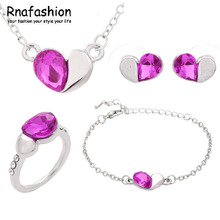 Wholesale Austria Crystal Heart Shape Jewelry Sets Silver Plated For Women Trendy Wedding Jewellery Pendant Necklace