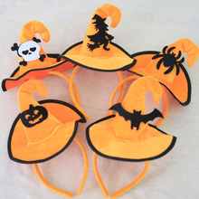 Halloween Hairbands Solid Villus Skeletons Bats Pumpkin Spider Spring Hair Bands Hoop Hats Kids' Headdress Dress Up Decoration(China)