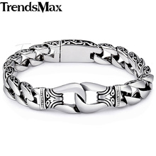 Trendsmax Mens Bracelet 316L Stainless Steel Biker Wristband Vintage Totem Curved Edging Curb Chain HB10(Hong Kong)
