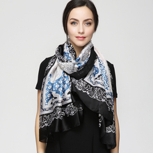 2017 Luxury Bandana Women hijab Print Scarf Long Shawls Brand Silk Scraf Women Scarves Summer YAU054(China)