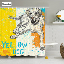 Shower Curtain With Animals Bathroom Accessories Sitting Dog Sketch Illustration Striped Yellow Blue 180*200 cm