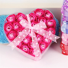 New 24pcs/box Handmade Fragrant Flower Petals Soap Wedding Party Valentine Christmas Gift Set 4 Color Whitening Body Skin Care