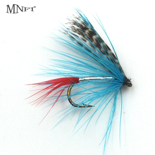 MNFT 10PCS 12#  Blue Color Grizzly Wing May Fly Trout Lure Outdoor Fly Fishing