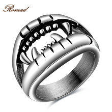 Romad New US Size 7-10 Punk Rock Stainless Steel Mens Devil Steel Rings Vintage Jewelry Silver Color Dragon Claw Ring Men
