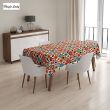 Vintage Table Cloth Vintage Colorful Nested Circles Psychedelic Bubble Pattern Artwork Orange Yellow 145x120 cm / 145x180 cm