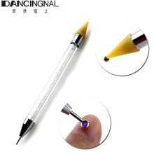 1pcs Rhinestone Nail Dotting Tool Double Different Head Dotting Pen Tips Beads Picker Wax Pencil Handle Manicure Tool
