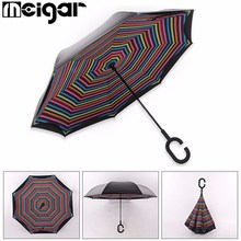Double Layer Special Design Inverted Umbrella Reverse Rainy Sunny with C-shaped Hands Long Handle Self Standing Inside Out