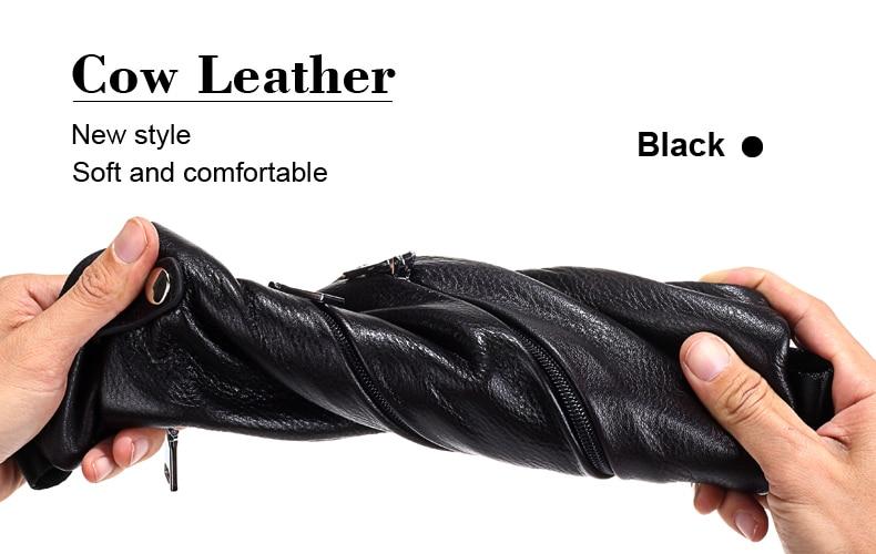 MISFITS Genuine Leather Men Bag Men's Crossbody Bag Men Messenger Bags Zipper Leather Phone Chest Pack Waist Small Belt Bag Male