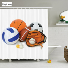 Shower Curtain Game Bathroom Accessories Sport Ball Championship Atheletic Volleyball Olympics White 180*200 cm