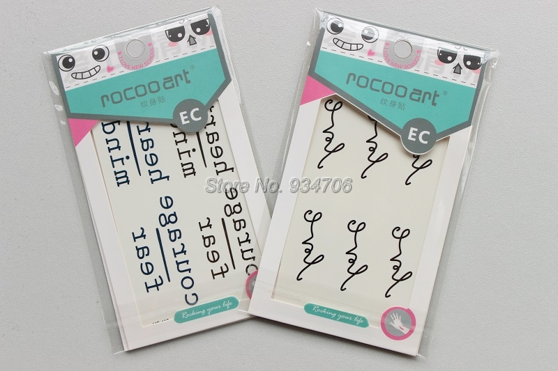 Rocooart HC1113 Waterproof Temporary Tattoo Stickers Courage Fear Heart Mind Letters Design Water Transfer Harajuku Fake Tattoo 19