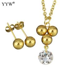 Fashion Stainless Steel Jewelry Sets earring & necklace gold color plated oval chain & for woman & with rhinestone Sold By Set