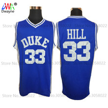 2017 Dwayne Mens Cheap Throwback Basketball Jerseys #33 Grant Hill Jersey Duke University Stitched Basketball Shirts Blue White(China)
