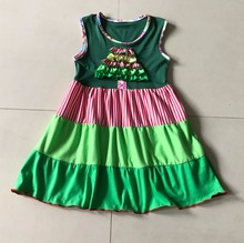 2017 Christmas Design Summer New Baby Girl Dress Style Special layers Splice Ruffles Infant Apparel Aceessory Children Clothing(China)