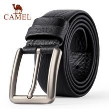 CAMEL Men's Belt fashion Genuine Leather Business Wild Casual Pin Buckle Belt Cross Buttonhole Design Flexible Top Layer Cowhide(China)