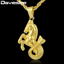 Davieslee Horse Fish Pendant Necklace Mens Chain Hip Hop Rope Link Gold-color 29.44inch DGP114_1