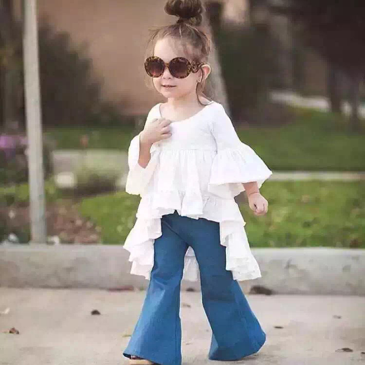 2017 Fashion girls clothing sets Kids Clothes Fairy Style Cotton Flounced Sleeves Coat + Horn Jeans Pants For 1 2 3 4 5 6 Years<br>