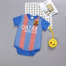 Newborn Kids Baby Summer Rompers Sports Football Baby boy Girls Short Sleeve Clothes Cotton Overalls Infant baby Jumpsuit(China)