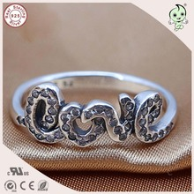 P&R  products New Arrival Famous Brand Silver Letter Accessories 100% 925 Sterling Silver Lover Letter Finger Ring