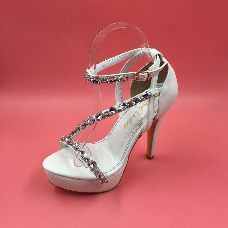 1c0fe3394d3 Fashion Clear Rhinestones Women Sandals For Wedding Bridal Shoes With  Platform High Heels Designer Shoes Women Luxury