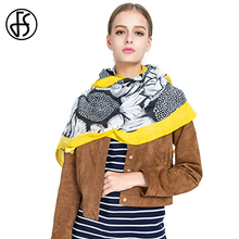 FS Cotton Linen Scarf Sunflower Tassel Pashmina Wraps Shawls Women Ethnic Style 2018 Long Luxury Brand Beach Sunscreen Scarve(China)