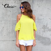 Buy Celmia Elegant Women Sexy Halter Shoulder Short Sleeve Blouse Shirt Tops Chiffon Chemise Femme Mujer Party Blusas Plus Size