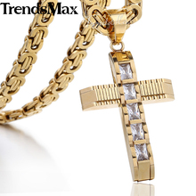 Trendsmax 55cm CZ Rightstones Gold Cross Necklace for Men Stainless Steel Byzantine Chain Men's Pendant Jewelry KPM86(Hong Kong)