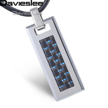 Davieslee Mens Womens Tungsten Pendant Necklace Silver Blue Grid Cross Chain LTN04