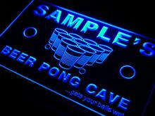 qr-tm Name Personalized Custom Beer Pong Cave Bar Beer Neon Light Sign