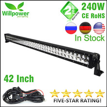FREE shipping 4x4 combo beam 24000lms 42 inch 240w 4x4 car driving lights wiring kit 12v offroad led light bar work light(China)
