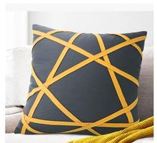 Manufacturers Customized Cushion Cover Wholesale High Quality Pillow Case Yellow Stripes Geometric Shapes Pillow Cover(China)