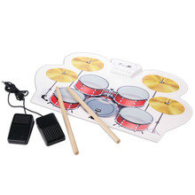 Kids Children Early Educational Toy Jazz Drum Drumsticks Rock Set roll up drum kit with Chair Musical Instrument(China)