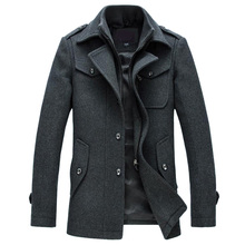 New Winter Wool Coat Slim Fit Jackets Fashion Outerwear Warm Man Casual Jacket Overcoat Pea Coat Plus Size M-XXXL(China)