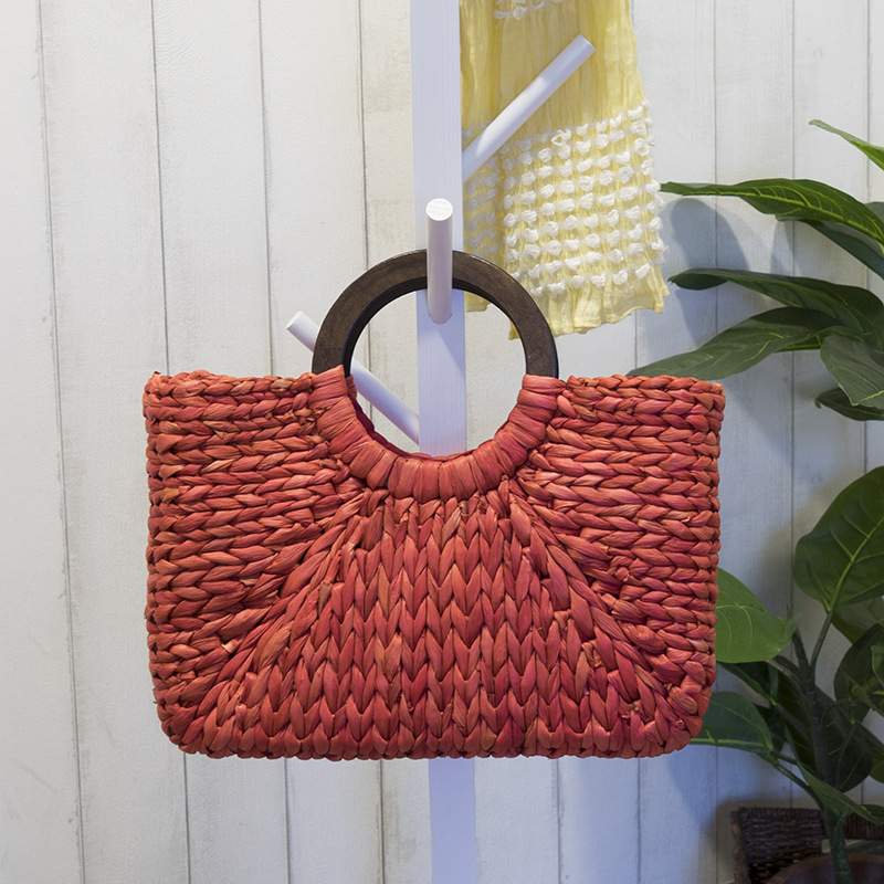Women Vintage Rattan Handbag Female Bohemian Summer Beach Straw Bags Lady Simple Weave Bag Handmade Casual Large Tote SS3032 (5)