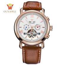 OUYAWEI Brand Stainless Steel Mechanical Watch Men Male Rose Gold Genuine Leather Mechanical Wristwatch Reloj Hombre Men Clock(China)