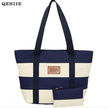 QEHIIE 2017 Woman Canvas Bag Beach Striped Fashion Colored Handbag Ladies School Shoulder Bags Travel Clutch Shopping Essential