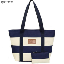 QEHIIE 2017 Woman Canvas Bag Beach Striped Fashion Colored Handbag Ladies School Shoulder Bags Travel Clutch Shopping Essential(China)