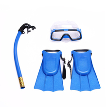Children Silicone Snorkel Mask Swimming Goggles Diving Underwater Scuba Masks Snorkel Diving Fins Set Kids 3PCS Diving Equipment(China)