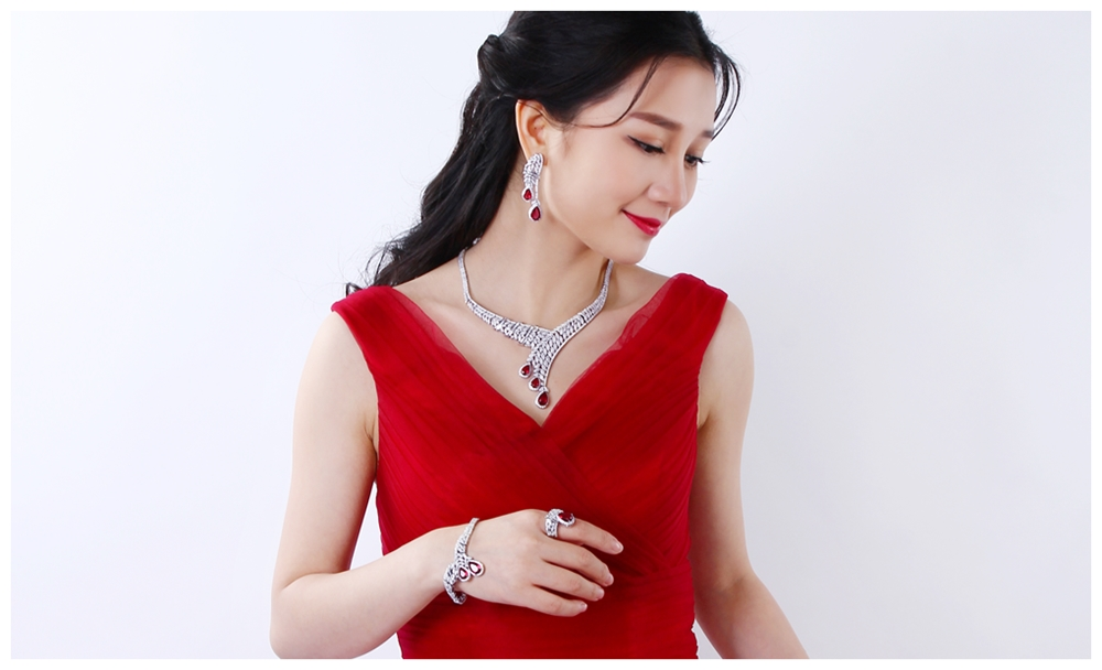 Red drop jewellery set SN04156SI (8)