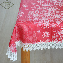 Special Sales Luxury Wide Embroidered Lace Trim Red Color Damask Printed Tablecloth For Xmas Festival Home Decoration