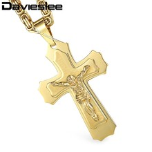 Silver Gold 2-Layers Crystal Jesus Cross Pendant Necklaces for Men Heavy Link Box Byzantine Chain 316L Stainless Steel KPM141(China)