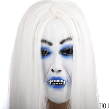 Halloween White Hair Bleeding Women Mask Party Supplies Popular Halloween Scary Horror Mask Masquerade Party Mask(China)