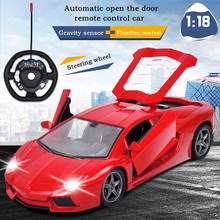 RC Car 1:18 Flashing 4CH Drift Model Radio Remote Control Drift Cars Rechargeable Battery One Key Open Door Kids Xmas Toys Gifts(China)
