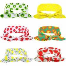 Kids Summer Fruit Print Headband Lovely Girl Cotton Elastic Hairband Headwrap Rabbit ears Hair Band Accessories(China)