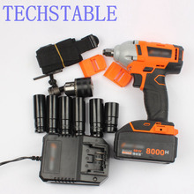 Lithium rechargeable electric wrench impact wrench cordless tool rack delivery sleeve 10 battery (8000 mA battery motor 1 split)