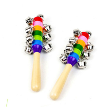 NEW Wooden Stick 10 Jingle Bells Rainbow Hand Shake Bell Rattles Baby Kids Children Educational Toy Sound Toys(China)