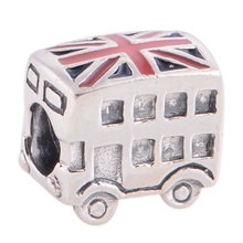 Everbling London Bus & UK National Flag 100% 925 Sterling Silver Charm Bead Fit European  Charms BraceletG2