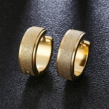 Buy 2018 New Silver Color&Gold-color Stainless Steel Hoop Earring Women Frosting Jewelry Party Earrings Men Punk Rock Brincos for $2.04 in AliExpress store