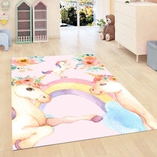 Mat Floral-Flowers Rainbow Horses Girls Kids Room-Decorative Area-Rug Microfiber Pink