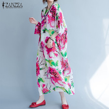 Vestidos 2018 Autumn Vintage Flower Print Maxi Long Dress Batwing Sleeve Kaftan Maxi Long Dresses ZANZEA Women Plus Size L-5XL